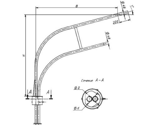 Кронштейн двухрожковый 1.К2-2,0-2,0-О2-ц