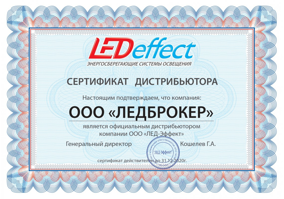 Сертификат ЛЕД-Эффект 2020